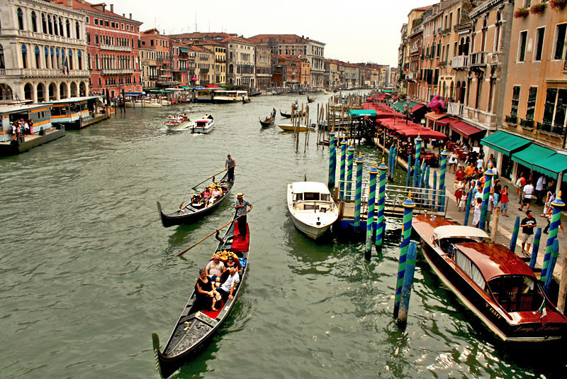 View down the Grand Canal in Venice, Italy
