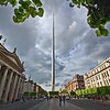 The Spire of Dublin, on O'Connell Street in central Dublin, Ireland, is also called the Monument of Light[. A beacon at the top sweeps the night sky.