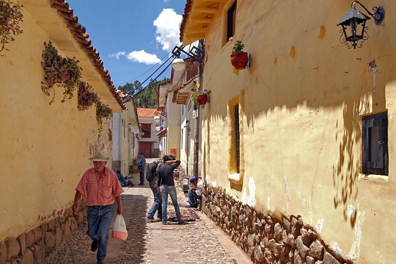 Narrow streets and cobblestone walkways of San Blas neighborhood in Cusco, Peru