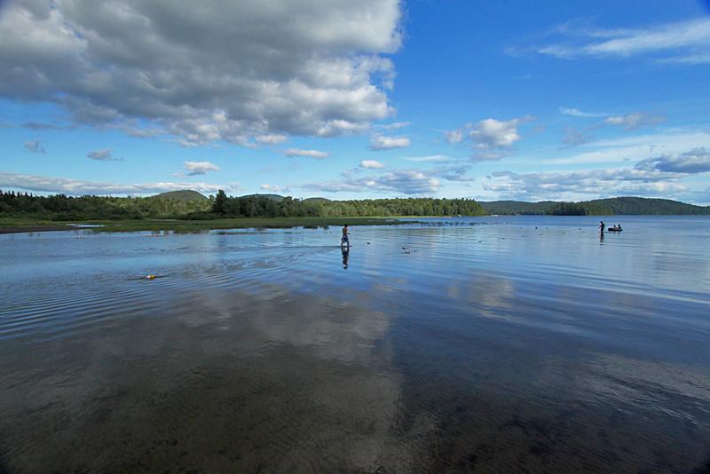 Serene waters of Piseco Lake in Adirondack Park, New York