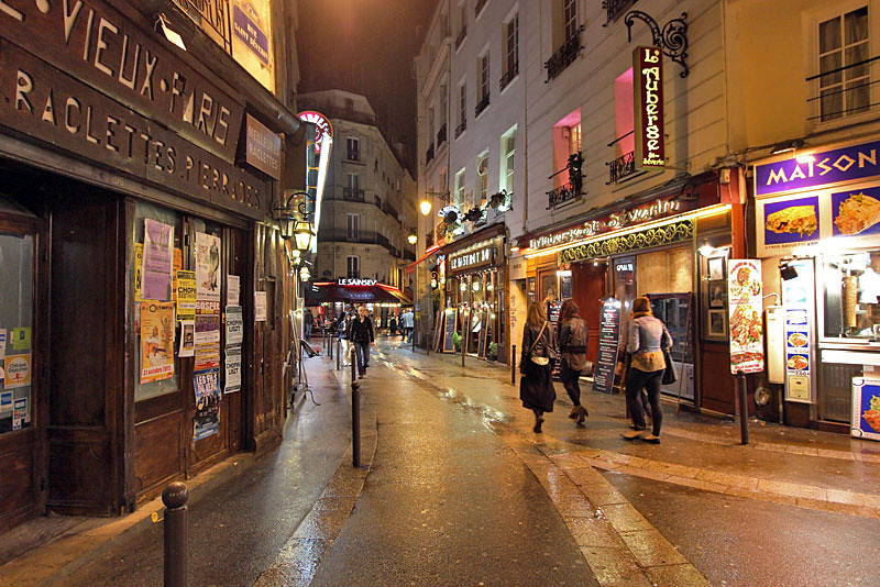 Rainy night in the St. Germain neighborhood in Paris, France