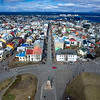 View over harbor and city of Reykjavik from Hallgrimskirkja Church