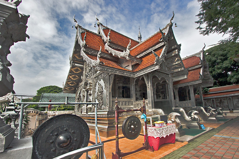 Silver reliefs on Wat Muen San in Chiang Mai, Thailand have earned it the nickname silver temple