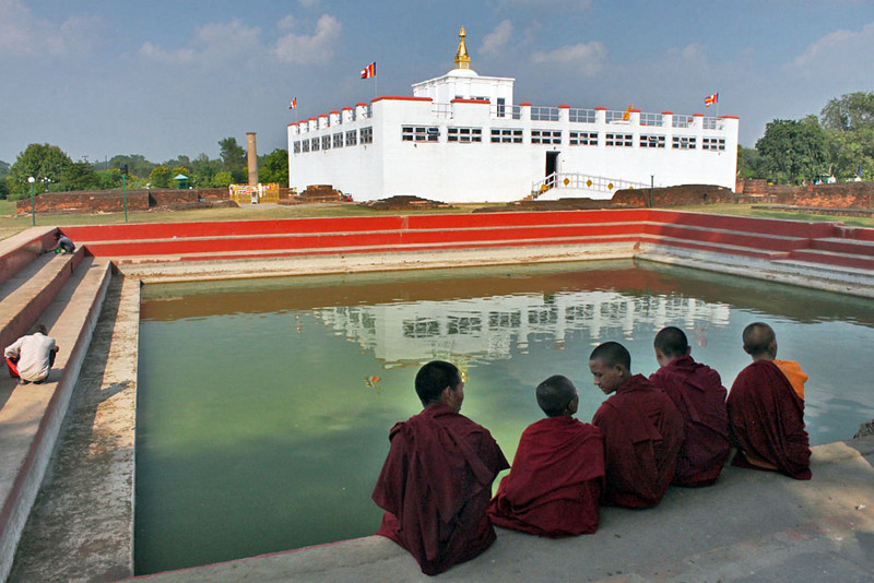 Monks at Birthplace of Lord Buddha in Lumbini, Nepal