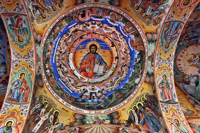 Ceiling fresco in the church at Rila Monastery in Bulgaria