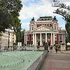 National Theatre and fountain in Ivan Vasov Garden, a popular park in Sofia, Bulgaria