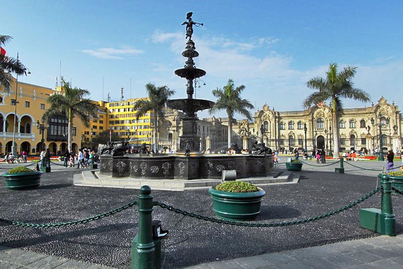 Plaza de Armas central square in the historic center of Lima, Peru
