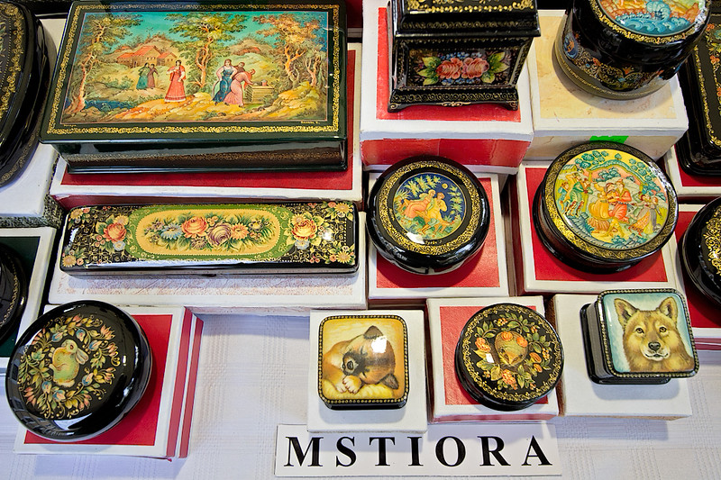 One of several categories of intricate lacquer boxes that are hand made in Russia