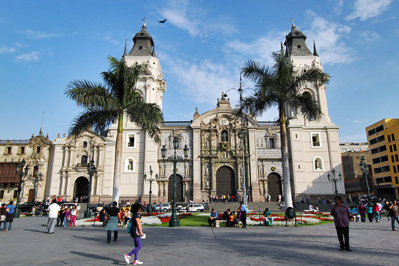 Cathedral at Plaza de Armas in the historic center of Lima