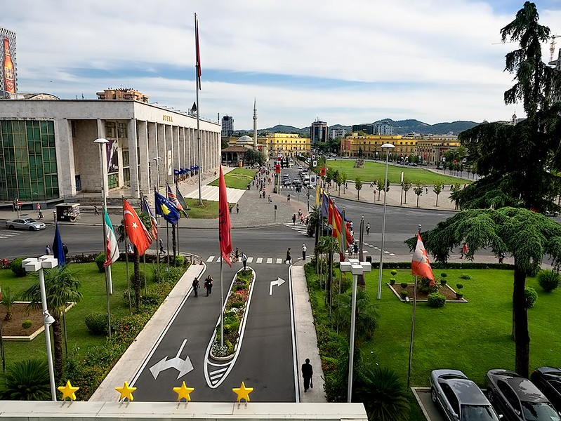 Skanderberg Square, seen from the balcony of Tirana International Hotel in Tirana, Albania