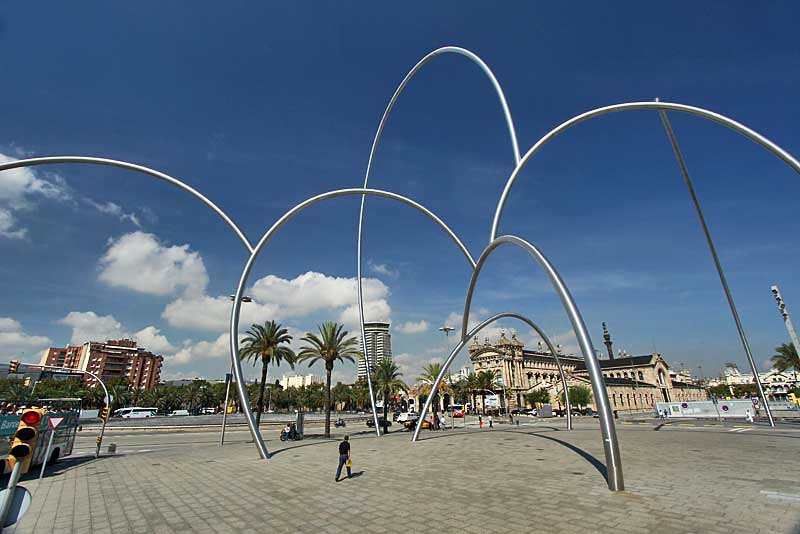 Onades (Waves) sculpture on the waterfront in Barcelona, Spain