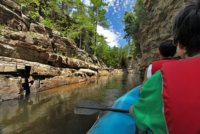 Paddling the rapids of AuSable Chasm in Keesesville, New York
