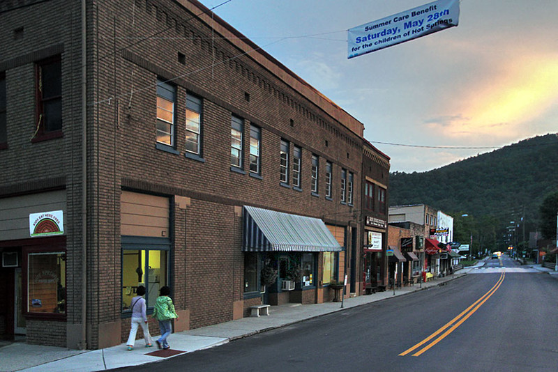 Sun Sets Over historic buildings in Hot Springs, North Carolina