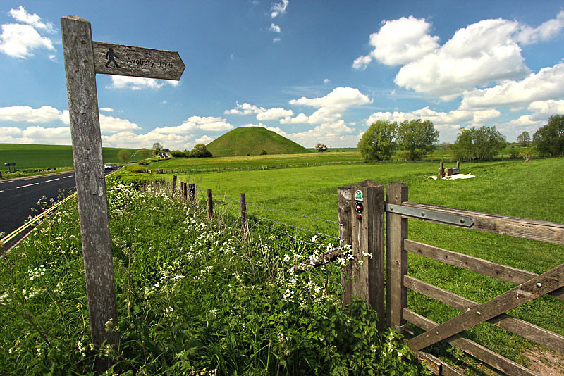 Silbury Hill, immense Neolithic man-made mound in Wiltshire County, England