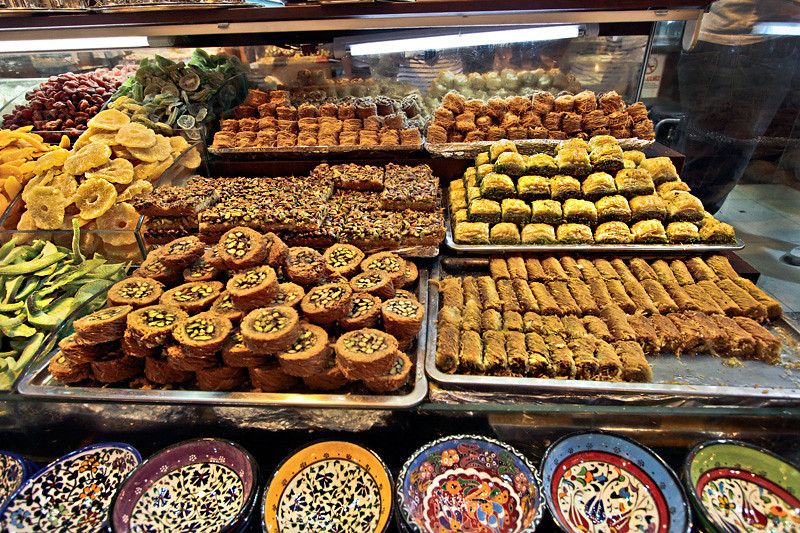 Varieties of Baklava in a showcase at the Spice Market in Istanbul, Turkey