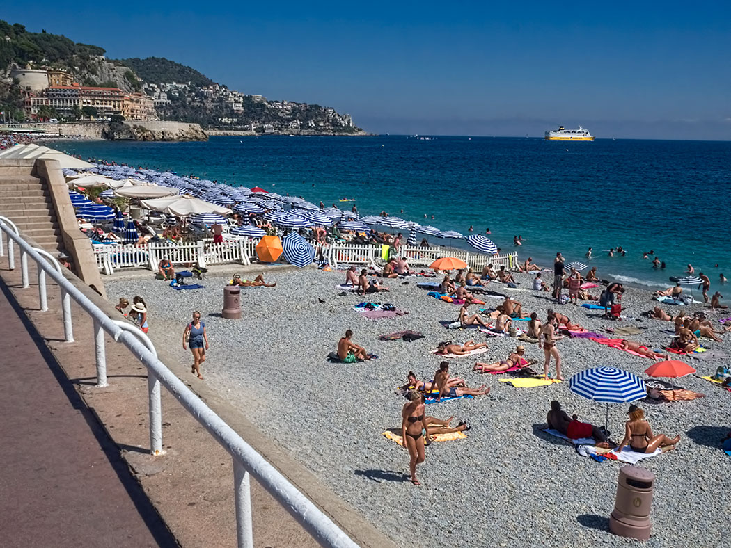 Beau Rivage Beach in Nice, France, looking toward Opera Beach