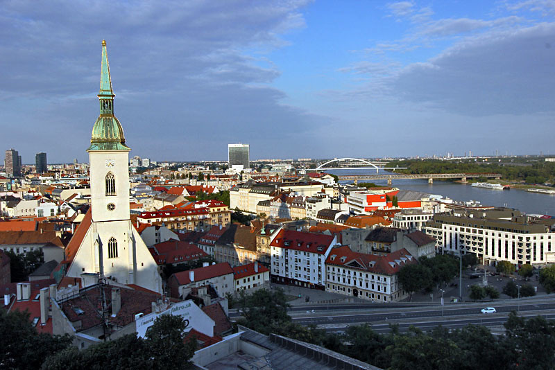 View of St. Martin's Cathedral and city of Bratislava, Slovakia from atop Castle Hill