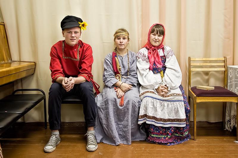 School children in Kirillov, Russia in traditional costumes