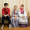 School children in Kirillov, Russia in traditional costumes