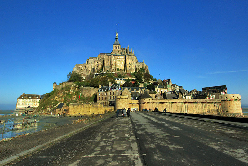 Mont Saint Michel island fortress and Abbey, Normandy, France