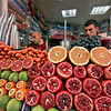 Stand in the Galata neighborhood of Istanbul, Turkey offers fresh squeezed fruit juice