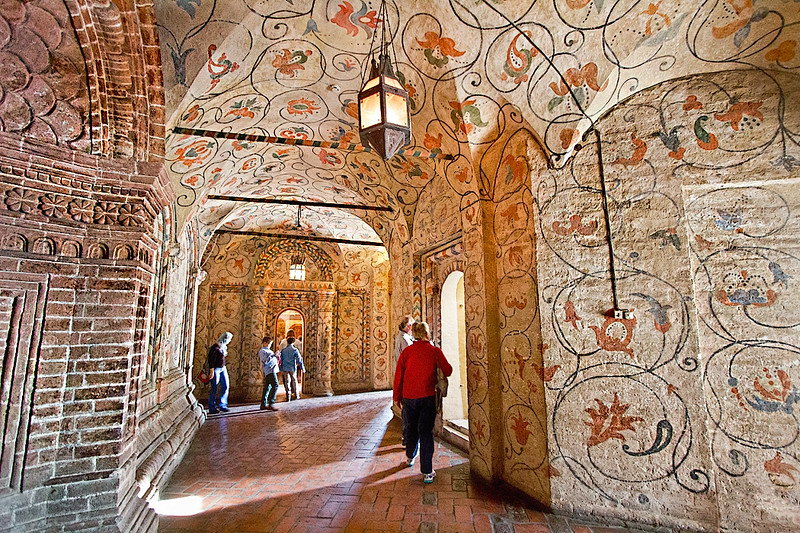 Elaborately decorated interior of St. Basil's Cathedral, now a museum in Red Square, Moscow, Russia