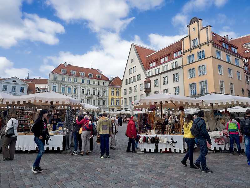 Crafts galore available at Town Hall Square in Tallinn, Estonia