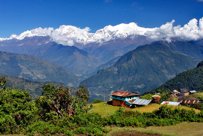 Tiny village of Baglung Pani, high in the Himalayas near Besisahar, Nepal