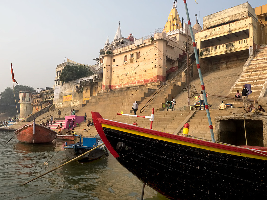 Dawn boat trip down the Ganges River in Varanasi, India