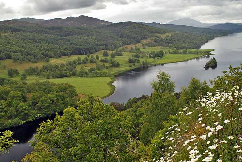 Queen's View of Loch Tummel at Tay Forest Park in the Trossachs National Park, Scotland