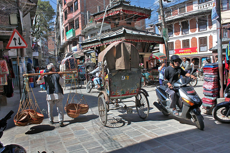 Many methods of transport in the Thamel area of Kathmandu, Nepal