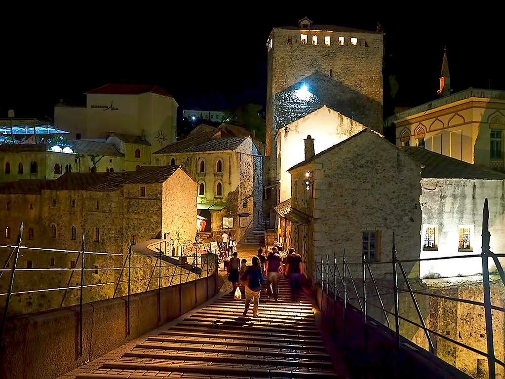 Old town of Mostar, seen from the top of Stari Most, the famous arched stone bridge over the Neretva River
