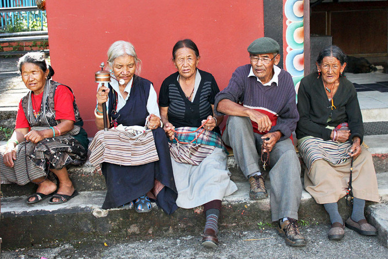 Residents of the old folks home at Tashi Palkiel Tibetan Refugee Settlement near Pokhara, Nepal