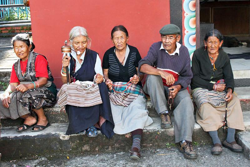 Residents of the old folks home at Tashi Palkiel Tibetan Refugee Settlement near Pokhara, Nepal