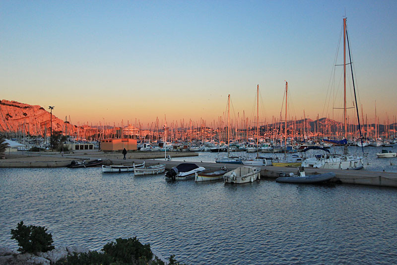 Sunset turns harbor pink on Frioul Islands, just offshore from Marseille, France