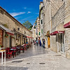 White paving stones and limestone block buildings in the Old Town of Split, Croatia