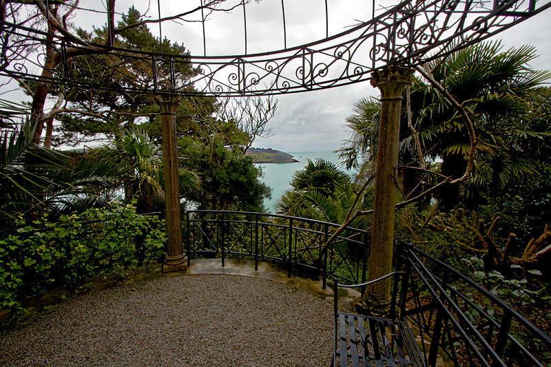 View over St. Mawes Bay from a pagoda at Lamorran House Gardens in Cornwall, England
