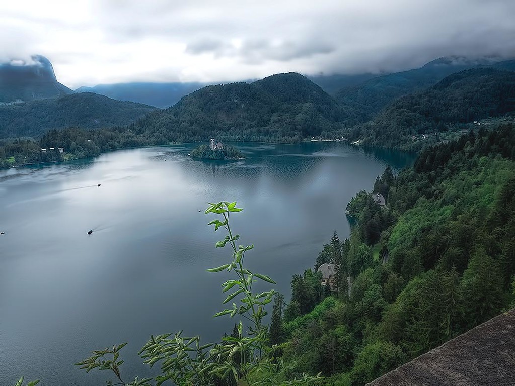 View from Bled Castle over Lake Bled, Slovenia. The lake is most famous for tiny Bled Island, a destination for pilgrims visiting a church dedicated to the Assumption of Mary.