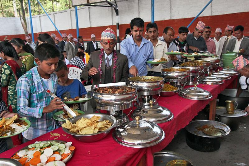 Buffet line at a wedding in Chitwan, Nepal