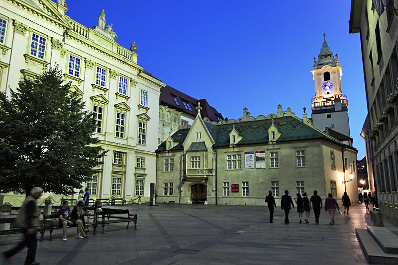 Town Hall in Bratislava, Slovakia, with its stately clock tower, seen from Primatial Square