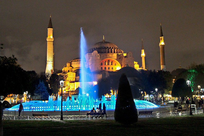 Famous Hagia Sophia provides backdrop for multicolored fountain in Istanbul's Sultanahmet Park