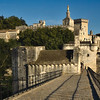 View of Palace of the Popes from the Pont d'Avignon Saint-Benezet in Avignon, France