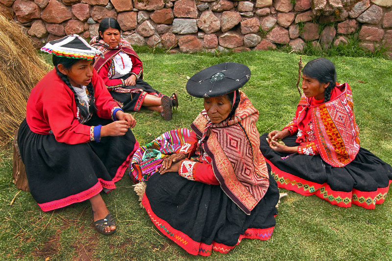 Indigenous Quechua women in the Sacred Valley of Peru create hand-loomed weavings at Awana Kancha