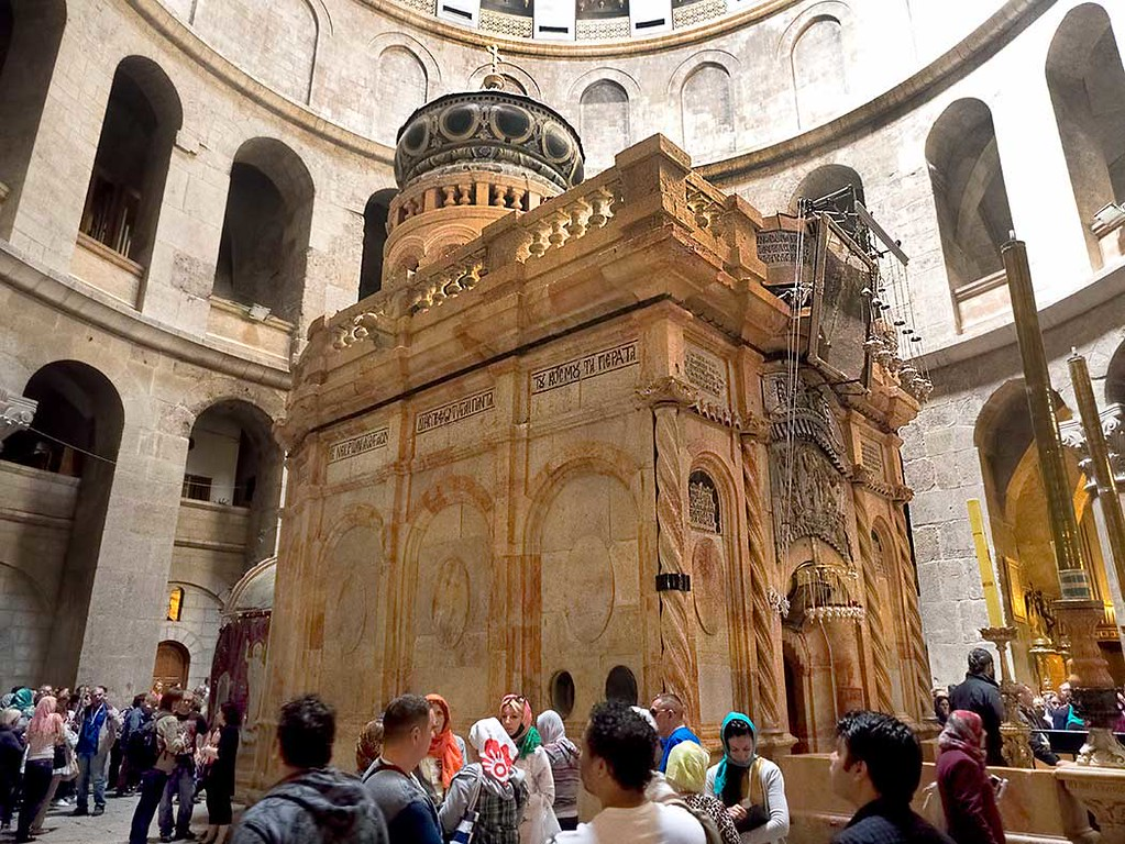 Tomb of Jesus is said to be located inside the Aedicule (shrine), which stands in the center of the Church of the Holy Sepulchre in Old City of Jerusalem
