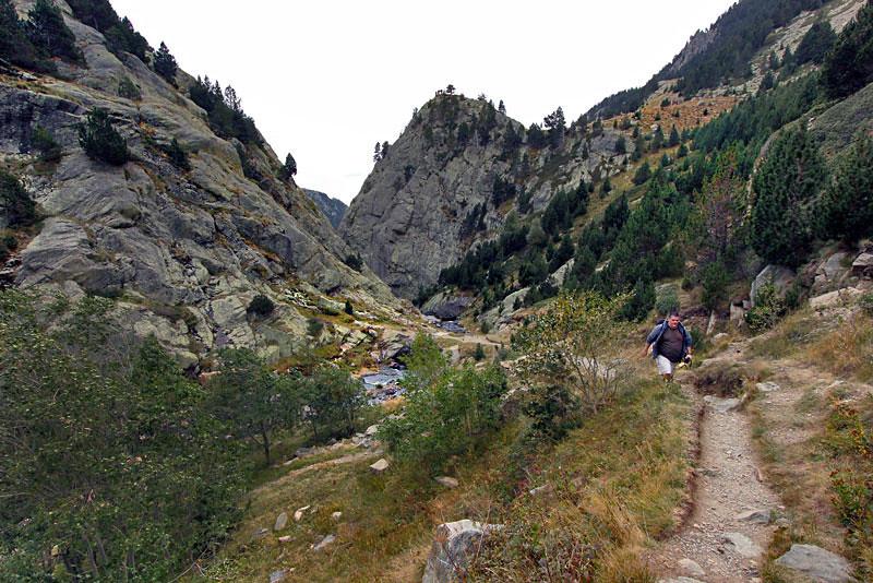 Hiking trails abound in pretty Vall de Nuria in Catalonia, Spain
