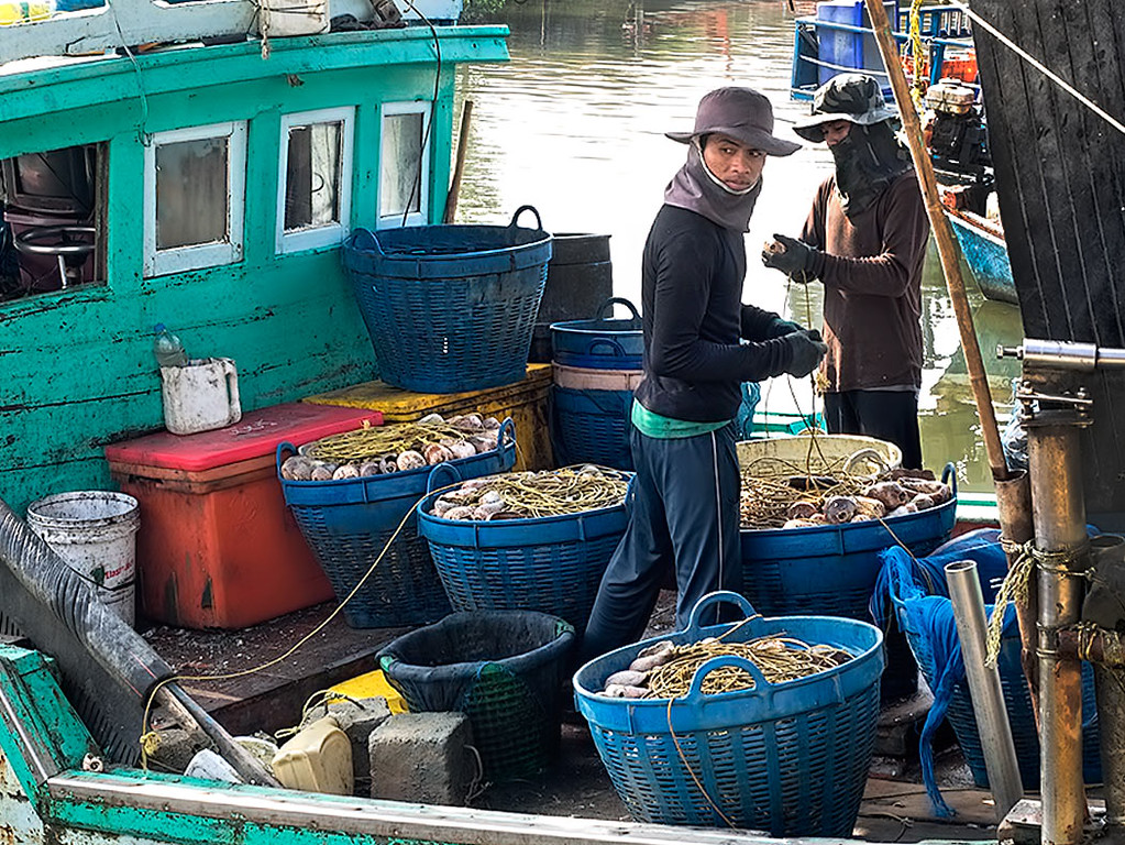 Fishermen in Hua Hin, Thailand clean and prepare float lines after returning to the wharves at Khao Takiab with the morning's catch
