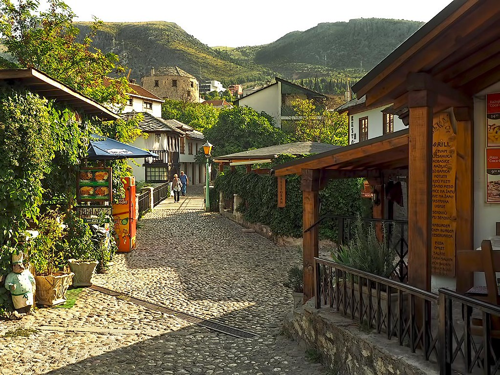 Cobblestone streets on the western side of the Neretva River in Mostar. This former war-torn city has recovered to become one of the most attractive and popular tourist destinations in Bosnia-Herzegovina.