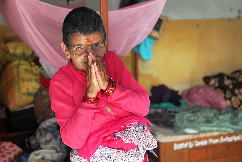 Old woman at Aged Center in Pokhara, Nepal