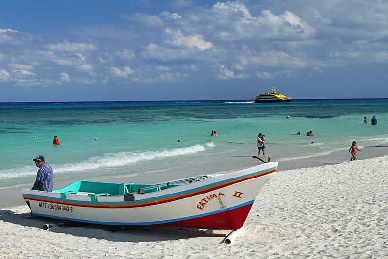 Cozumel Ferry approaches gorgeous Playa del Carmen, Mexico