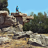 Mammoth balanced stone slabs in the Kali Basin near Lake Balaton, Hungary can be rocked but will not fall